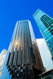 Fragments of tall buildings against blue sky royalty free stock photos