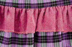 Fragments of the texture of a children`s pink dress with buttons.  royalty free stock image