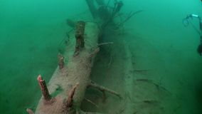 Fragments of trees and grass in underwater landscape of Fernsteinsee lake. Beautiful emerald green alpine attractions of nature of Fernpass in Nassereith Tyrol stock video