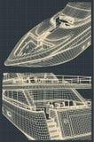 Fragmentteckningar av en modern yacht royaltyfri illustrationer