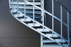 Fragmetn of modern metal spiral staircase Stock Photos