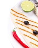Fragmnt del plato de pescados Pangasius y lubina Fotos de archivo libres de regalías