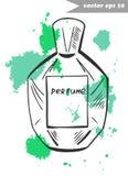 Fragnance bottle 3. Graphic hand drawn perfume bottle with fragrance splashes. Element for fashion logo design, decoration, magazine, shop and salon banner Royalty Free Stock Photography