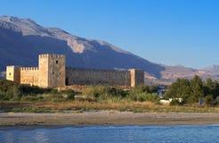 Fragokastelo slott på den Crete ön Arkivbild