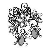 Fragola Bush decorativa di vettore. Immagine Stock