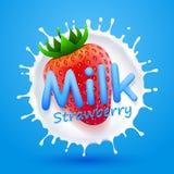 Fragola del latte dell'etichetta Fotografie Stock