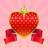 Fragola di giorno del biglietto di S. Valentino Immagini Stock Libere da Diritti