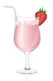 Fragola di vetro di cocktail Fotografia Stock Libera da Diritti