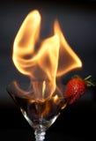 Fragola e fuoco Fotografie Stock Libere da Diritti