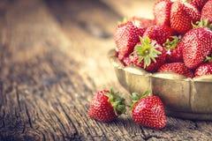 Fragola Fragola rossa Fragole raccolte fresche nelle posizioni differenti fotografia stock libera da diritti