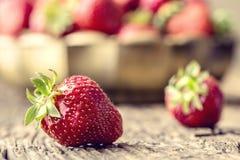 Fragola Fragola rossa Fragole raccolte fresche nelle posizioni differenti immagini stock