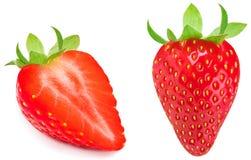 Fragola isolata su priorità bassa bianca Intero strawber maturo rosso Fotografia Stock Libera da Diritti