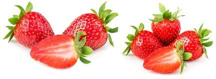 Fragola isolata su priorità bassa bianca Intero strawber maturo rosso Fotografie Stock Libere da Diritti