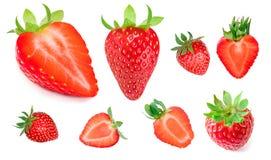 Fragola isolata su priorità bassa bianca Intero strawber maturo rosso Immagini Stock