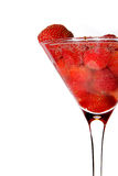 Fragola in vetro del martini con champagne Fotografie Stock