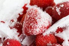 Fragole, congelate per stoccaggio di lunga durata di ghiaccio Fotografia Stock Libera da Diritti