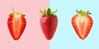Fragole differenti su fondo luminoso Concetto minimo dell'alimento fotografia stock libera da diritti