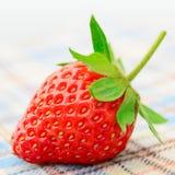 Fragole dolci fresche sulla tovaglia Fotografia Stock Libera da Diritti