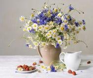 Fragole e fiori selvaggi Fotografia Stock