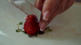 Fragole fresche del taglio manuale della donna affettate con un coltello archivi video