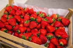Fragole organiche fresche in cassa sul mercato degli agricoltori Immagine Stock
