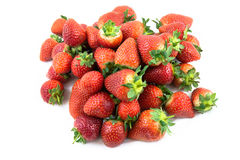 Fragole perfette mature rosse fresche isolate su bianco Fotografia Stock Libera da Diritti