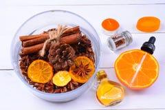 Fragrância da aromaterapia da laranja Saúde e beleza, ainda conceito da vida Foto de Stock Royalty Free