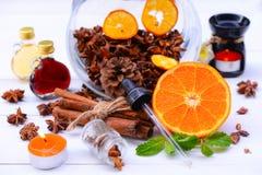 Fragrância da aromaterapia da laranja Saúde e beleza, ainda conceito da vida Imagem de Stock