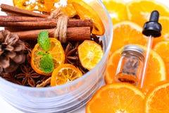 Fragrância da aromaterapia da laranja Saúde e beleza, ainda conceito da vida Imagens de Stock