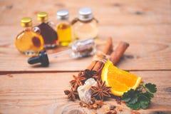 Fragrância da aromaterapia da laranja Saúde e beleza, ainda conceito da vida Fotos de Stock