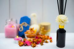 Fragrância da aromaterapia da laranja Saúde e beleza, ainda conceito da vida Fotografia de Stock Royalty Free