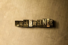 FRAGRANCE - close-up of grungy vintage typeset word on metal backdrop Royalty Free Stock Photo