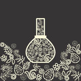 Fragrance flowers  in a perfume bottle. Aromatic herbs and flowers fragrance in a perfume bottle. Doodle floral drawing Stock Photo