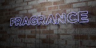 FRAGRANCE - Glowing Neon Sign on stonework wall - 3D rendered royalty free stock illustration. Can be used for online banner ads and direct mailers Royalty Free Stock Photography