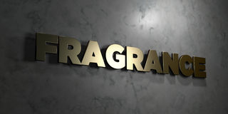 Fragrance - Gold text on black background - 3D rendered royalty free stock picture Stock Images