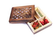Fragrance item wooden box Stock Image
