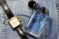 Fragrance for men. On the background of denim. soft focus Stock Photo
