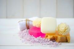 Handmade Soap closeup. Spa products royalty free stock image
