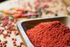Fragrance paprika. In wooden bowl stock image