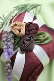 Fragrance Pillows. Burgundy Colored Fragrance Pillows with fresh lavendar stock images