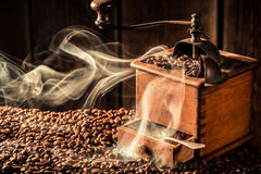 Fragrance of roasted ground coffee Royalty Free Stock Images