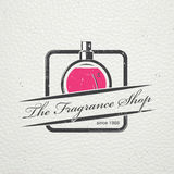 The Fragrance Shop. Exclusive boutique with aromatic oils. Detailed elements. Old retro vintage grunge. Scratched Royalty Free Stock Photo