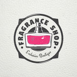 The Fragrance Shop. Exclusive boutique with aromatic oils. Detailed elements. Old retro vintage grunge. Scratched Stock Photography