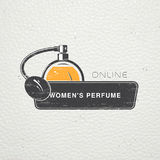 The Fragrance Shop. Exclusive boutique with aromatic oils. Detailed elements. Old retro vintage grunge. Scratched Royalty Free Stock Images