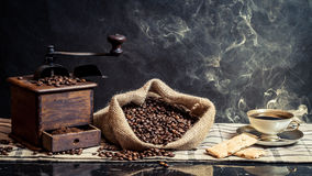 Fragrance of vintage brewing coffee royalty free stock photography