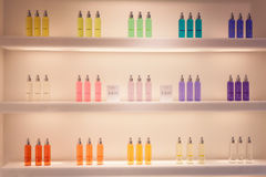 Fragrances on display at HOMI, home international show in Milan, Italy. MILAN, ITALY - SEPTEMBER 13: Fragrances on display at HOMI, home international show and Stock Images