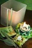 Fragrances for ecological homes. Different fragrances for ecological homes on wood dark Stock Image