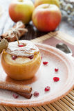 Fragrant apple baked with cream cheese Royalty Free Stock Photography