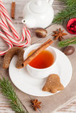 Fragrant black tea with cinnamon, gingerbread cookies with spice Stock Images