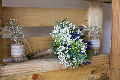 Fragrant bouquet of baby's breath with eucalyptus and lavender Royalty Free Stock Images